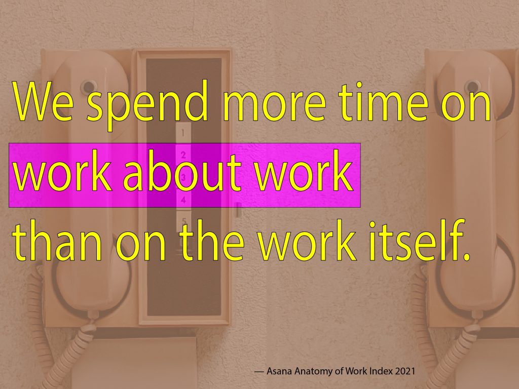 """Yellow and pink text reading, """"We spend more time on work coordination than on the work itself."""""""