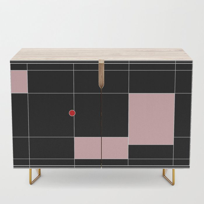 Black and white and pink grid graphic design credenza by design-a-day artist macro.baby.