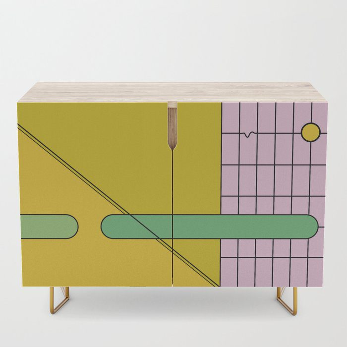 Pink, green, and yellow graphic design credenza by design-a-day artist macro.baby.